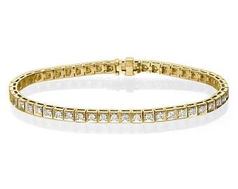 14k Yellow Gold Tennis Bracelet - 1.20 Carat Gold Diamond Bracelet, Gold Diamond bracelet, Bridal Diamond Bracelet