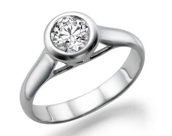 Bezel Ring, Diamond Engagement Ring, 14K White Gold Ring, Bezel Setting Solitaire Ring, 0.50 CT Diamond Ring Band
