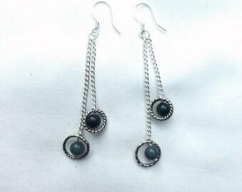 Earrings - Dark Blue and Silver Dangle Earrings