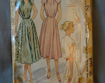 1950s McCalls Sewing Pattern # 8793 Size 32 Bust Cap Sleeve Dress
