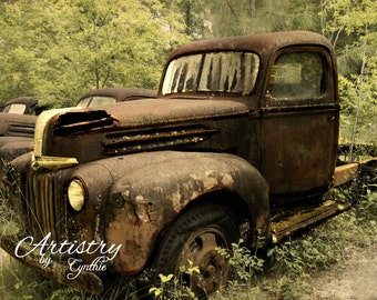 Car Photography, Vintage Car photography, Ford, Truck, Vintage Car photo, Rusty, Garage Art, Rusted Car, Rustic Wall Art