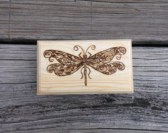 Wood Burned Dragonfly Box