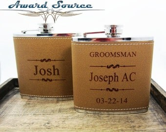 Personalized Groomsmen Gift, 1 Leather Engraved Flask, Groomsmen Flasks