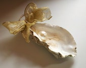 Large Pacific Oyster Shell Christmas Ornament with Pearl Bead and Little Barnacles - Ready To Ship