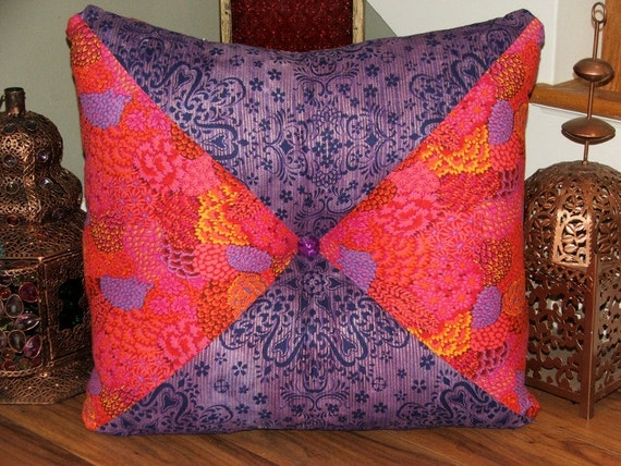 Hot Pink and Purple Extra Large Stuffed Square Tufted Pillow/