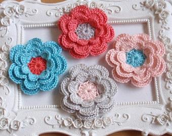 4 crochet flowers applique CH-036-07