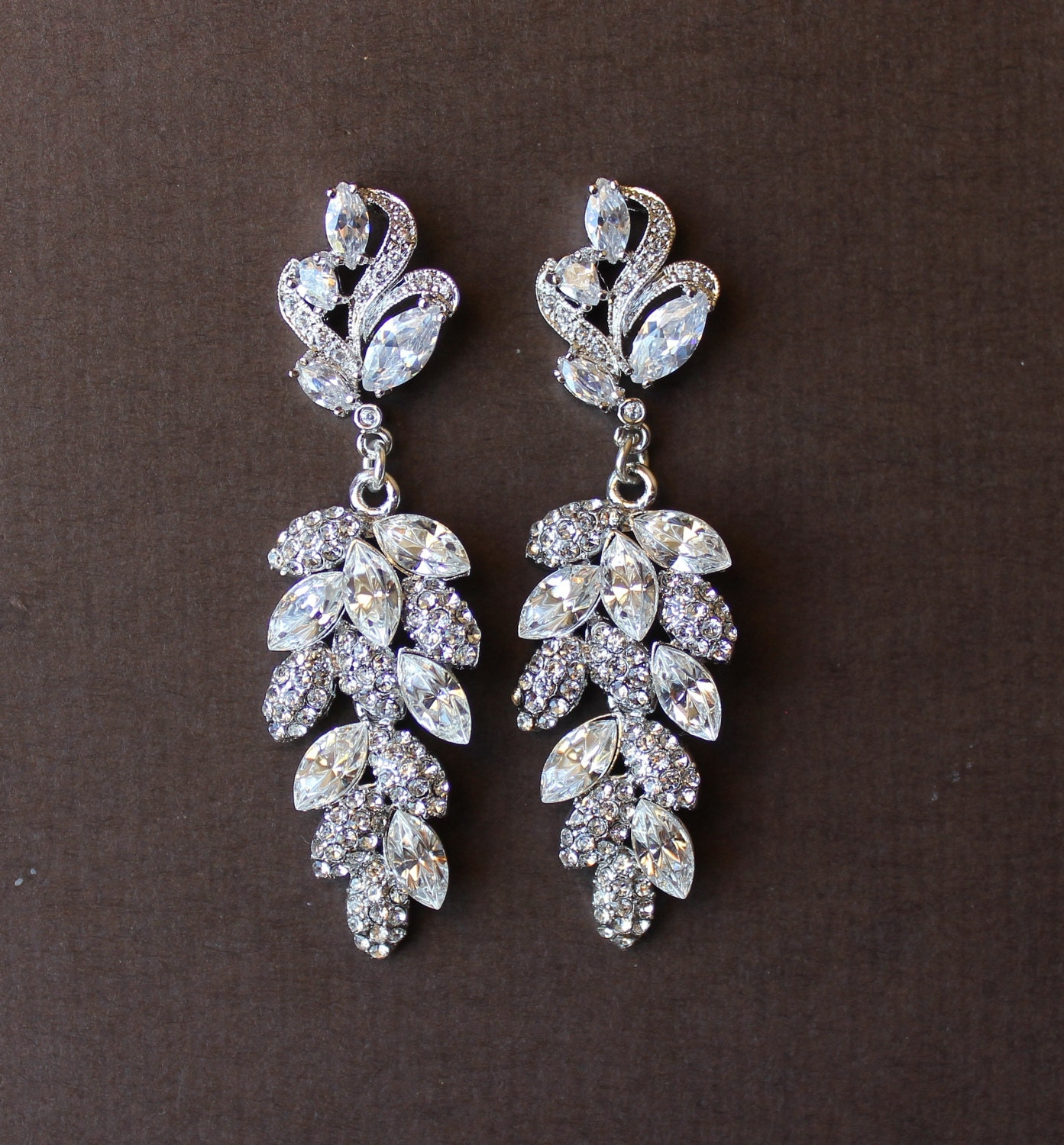 bridal chandelier earrings leaf earrings bridal