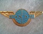 """Metal Collectible Pan Am Airlines """"Junior Clipper Stewardess"""" Souvenir Wings Pin -- Ships Free (USA) --"""