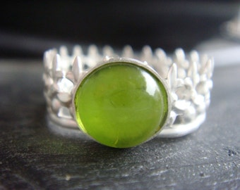 Green Peridot Crown Ring August Birthstone Ring
