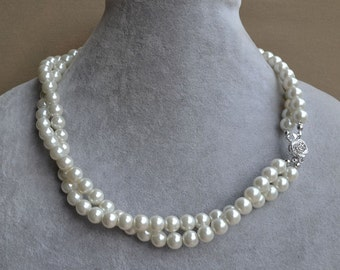 white pearl Necklaces,Glass Pearl Necklace,ivory pearl necklaces,two strangs Pearl Necklace,Wedding Necklace,bridesmaid necklace,Jewelry