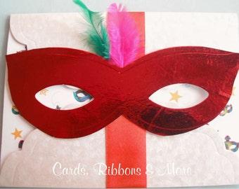 Sweet sixteen invitation, sweet 16 invitation, quinceanera invitation, mardi gras invitation, masquerade  mask party, carnival in handmade