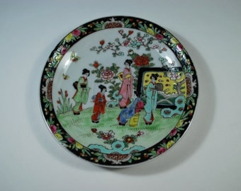 Antique Japanese Porcelain Plate Saucer With Geisha Garden Scene