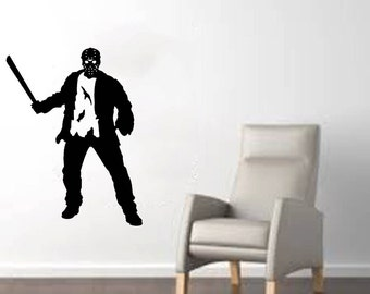 "Jason Voorhees (Friday the 13th) with Machete Halloween Wall Decal (22""w x 29""h)"