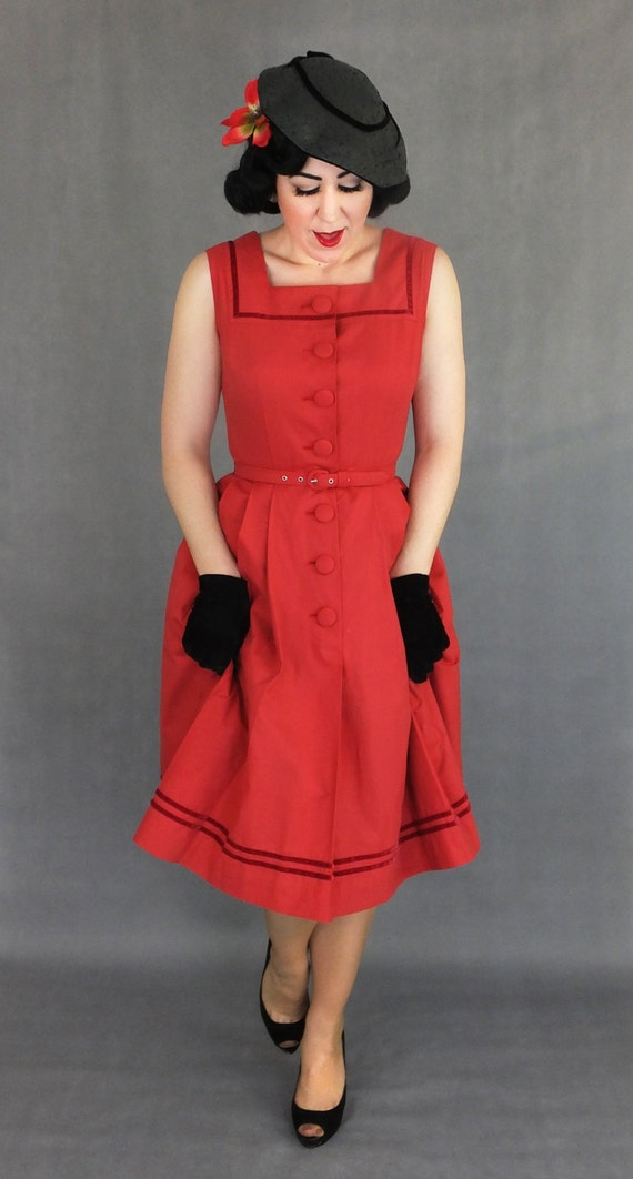 1950s Day Dresses Vintage Cotton 1950s 50s dress / Mabel / Authentic vintage reproduction / Red with velvet trim 50s dress / XS S M L XL / Made to order $208.97 AT vintagedancer.com