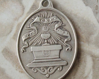 Antique Religious Medal First Communion Signed Vachette