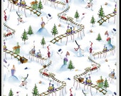 Merriment Fabric from P & B Textiles, Christmas Train White by the Yard