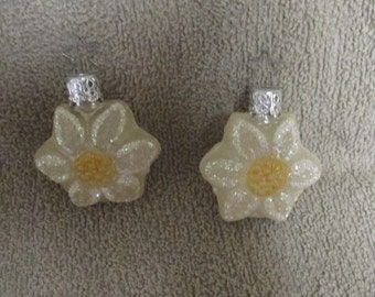 2 Made in West Germany Mini Daisy Flower Ornament