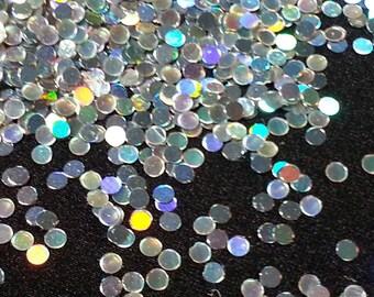 solvent-resistant glitter shapes-silver hologram dots