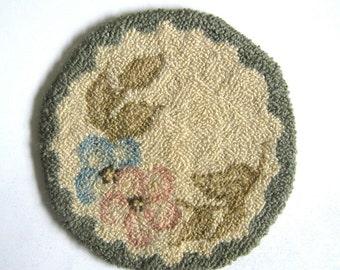 Vintage 1980s Needlework Wool Floral Trivets