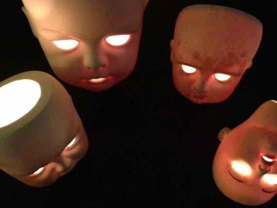 Vintage Doll Head Dollhead Votive Creepy Halloween Decoration Bisque Porcelain Hand Painted