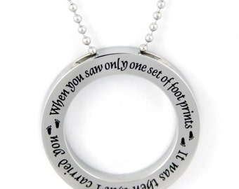Footprints Prayer Stainless Steel Disc Pendant