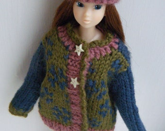 Hand knitting MOMOKO Latvian style sweater, hat and socks set by Jing's Crafts