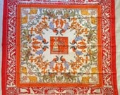 "Authentic HERMES Scarf - ""EARLY AMERICA"" Red/White 90cm"