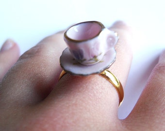Alice in Wonderland Floral Teacup Ring, Tea cup, Retro,Flower, Gold, Adjustable, Miniature