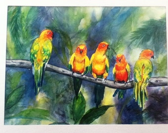 "This is a print of my original  watercolor painting titled "" Parrot Meeting""  Available 5 x 7, 8 x 10, 11 x 14, notecards"