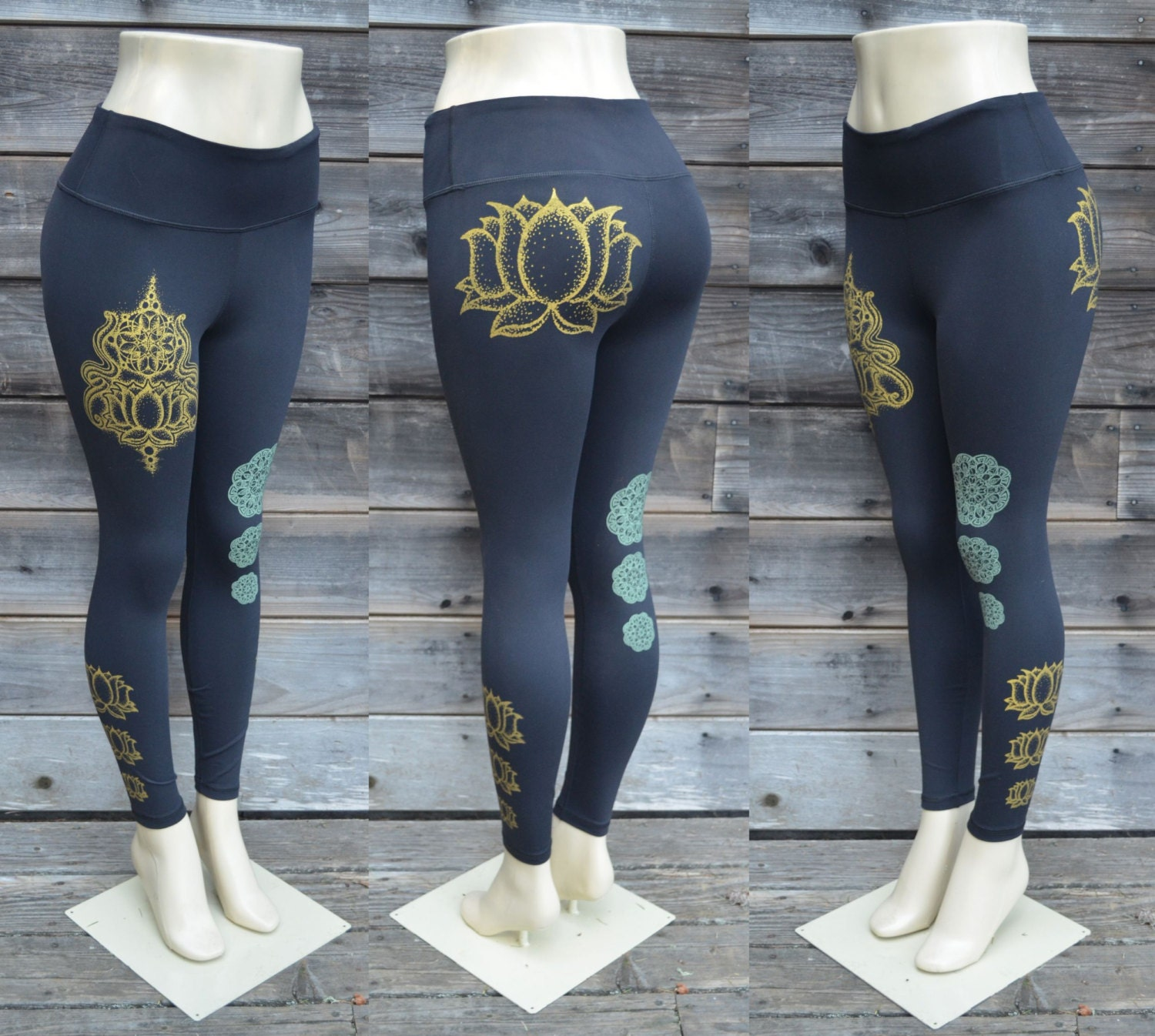Glow in the Dark Mandala and Gold Lotus Flower Fitness Pant