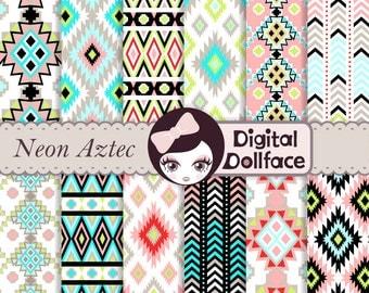 Neon Aztec Digital Paper, Geometric, Ikat Scrapbook Paper, commercial use