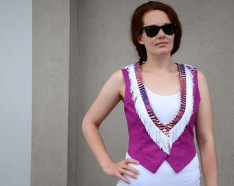 Foxy Lady Jimi Hendrix inspired Pink Vest with White Fringes