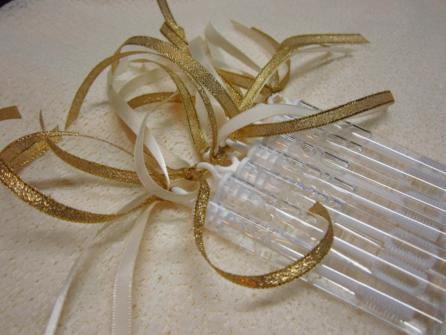Metallic Foil Streamer Wands : 45 Ceremony Wedding Bubble Wands Double ribbon