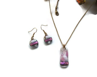 fused glass necklace, pink glass pendant necklace, pink glass pendant earrings, pink dichroic glass pendant, jewelry set, glass jewelry set