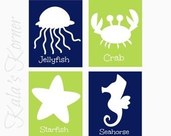 UNDER The SEA NURSERY Art - Blue Green Nursery Decor - Ocean Nursery Wall Art - 4 piece Print Set