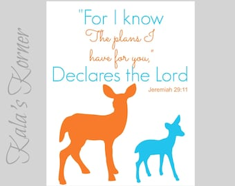 WOODLAND NURSERY ART - Forest Nursery art, Forest Animals nursery, Deer Nursery, turquoise orange, Playroom art, Deer Wall art, bible verse