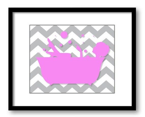 Bathroom decor bathroom print pink and grey girl in a bathtub for Pink and grey bathroom decor