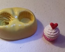 Tiny Cupcake Top and Bottom Flexible Silicone Mold-for polymer clay, sugar, wax, etc.