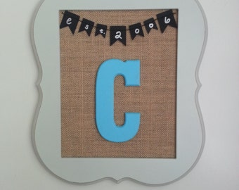 Wedding or Anniversary Burlap Frame with Initial and Date