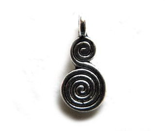 10 Silver Double Spiral Charms - 20mm