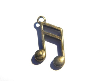 6 Bronze Music Note Charms