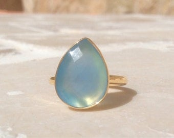 Blue Chalcedony Pear Stone Ring, Gemstone Gold Ring, Teardrop Ring, Large Gemstone Blue Chalcedony Ring