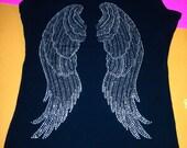 Plus size Angel Wings Shirt. Angel Wings Rhinestone Shirt. Angel Wings Shirt. Angel Wings bling Shirt. Angel Wings jeweled shirt. Glitter.