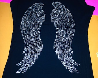 Plus size Angel Wings Shirt. Angel Wings Rhinestone Shirt. Angel Wings Shirt. Angel Wings bling Shirt. Angel Wings jeweled shirt. Glitter.