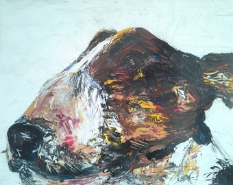English bull terrier  print.  This print is on canvas. Brucie 2.