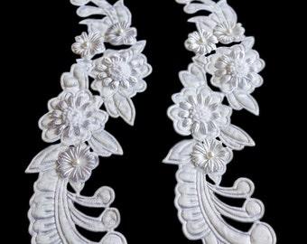 White Beaded Floral Filigree Applique Set
