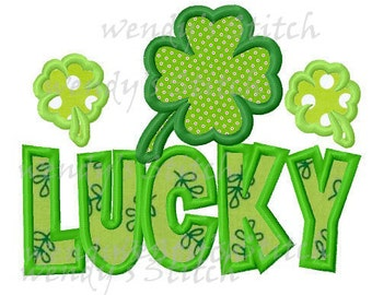 St. patrick's day lucky shamrock applique mahine embroidery design