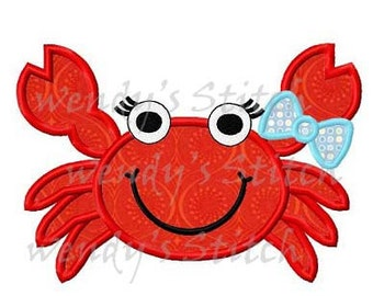 Girl crab applique machine embroidery design digital pattern