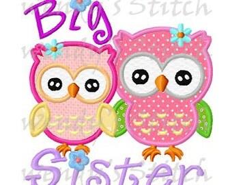Big sister owls applique machine embroidery design digital pattern