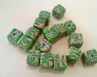 "Green/Tan Natasha block beads (1/4"")"